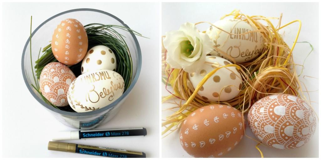 Kiaušinių dekoravimas auksiniu ir baltu markeriu 1