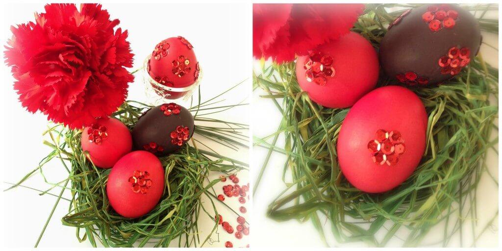 Kiaušinių dekoravimas žvyneliais