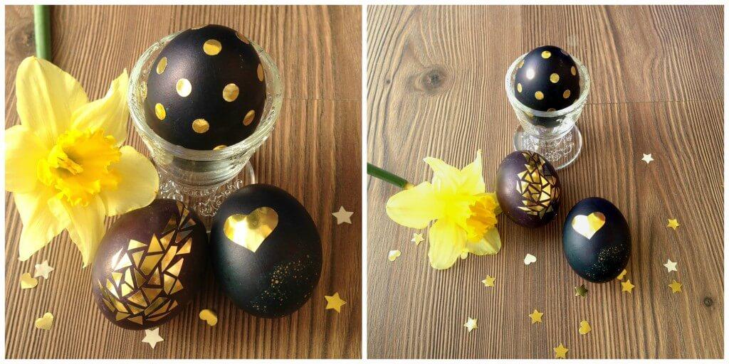 Kiaušinių dekoravimas auksiniu popieriumi